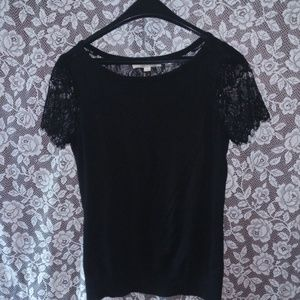 Woman's loft lace sweater.size S.black with lace!
